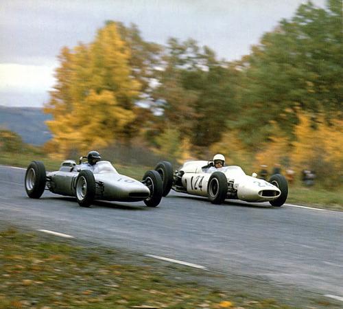История Порше в Ф1 Дэн Герни - на пути к 5-му месту в Watkins Glen 62 на Порше 804 Porsche 804
