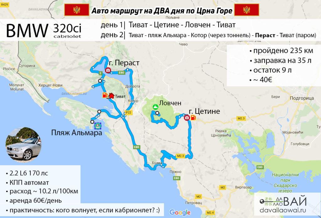 авто мартшрут по черногории