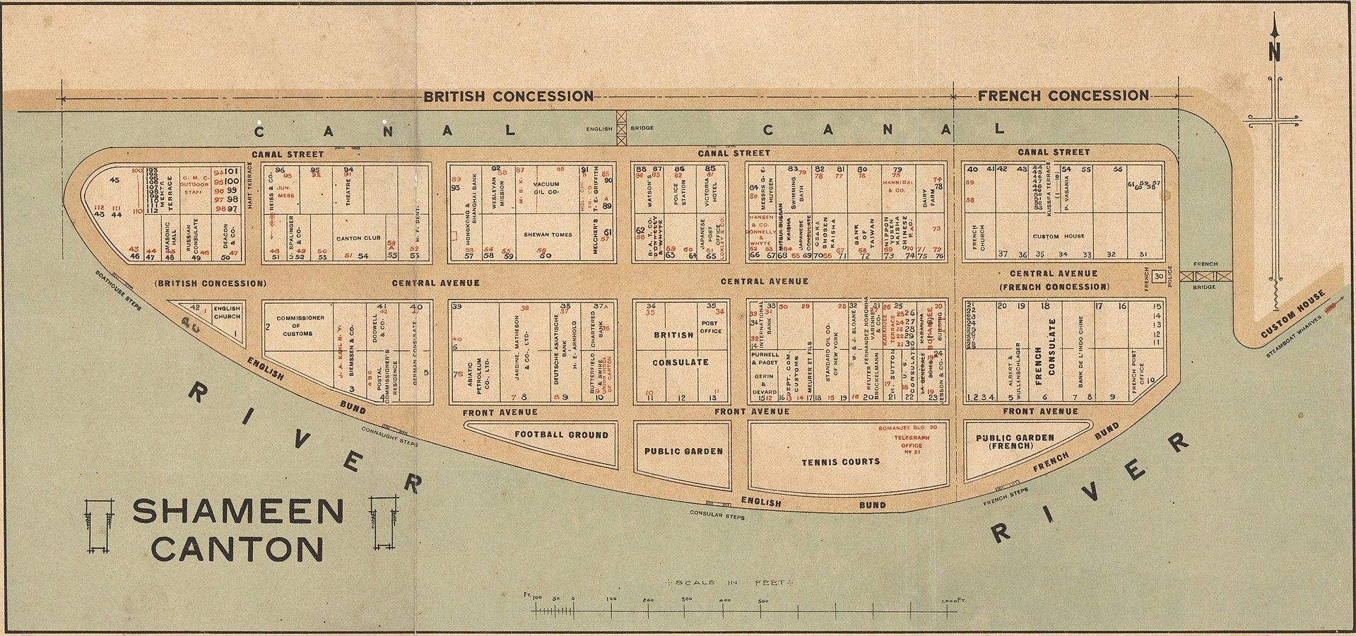карта острова Шамянь 1920