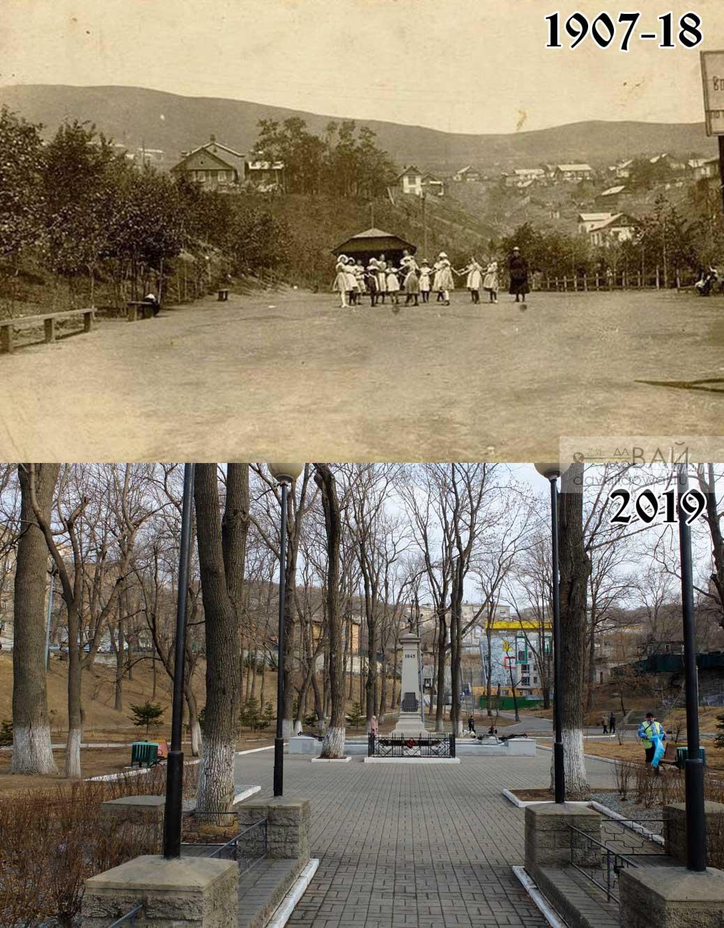 Гайдамакский овраг засыпали в 1907 году, и на этом месте сделали сквер. Зеленая пустая лужайка была лучше хаотично посаженых деревьев, да?