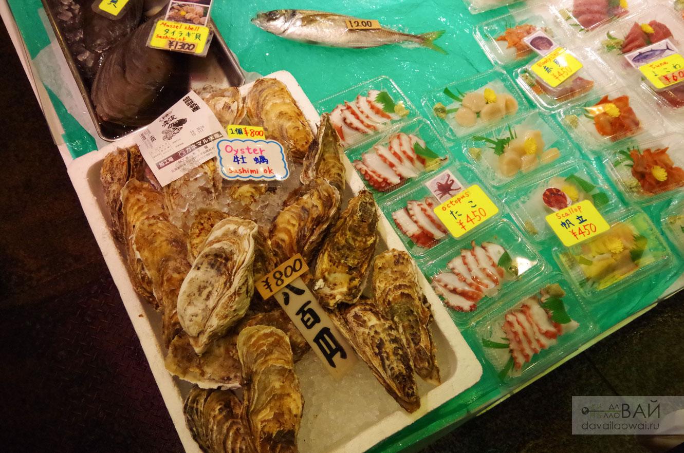 устрицы на рынке в киото